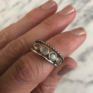 Stella & Dot 3 Piece Silver Ring Set